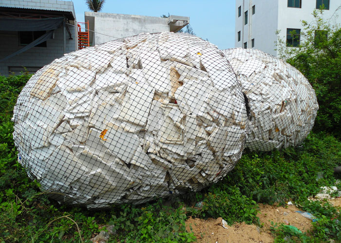 Polystyrene in China salvaged from the sea, presumably for recycling